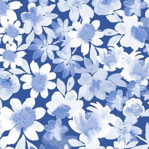 Watercolor Ditsy Floral_Blue