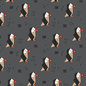 Geometric origami style puffin birds winter kids design charcoal gray beige red neutral
