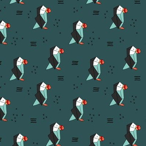 Geometric origami style puffin birds winter kids design petrol teal red neutral