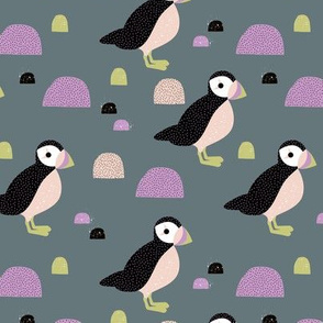 Puffins and mountains sweet winter birds Scandic landscape for kids gray lilac mint