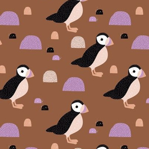 Puffins and mountains sweet winter birds Scandic landscape for kids rust copper brown lilac beige