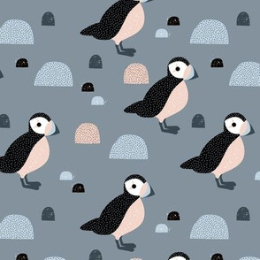 Puffins and mountains sweet winter birds Scandic landscape for kids cool gray blue