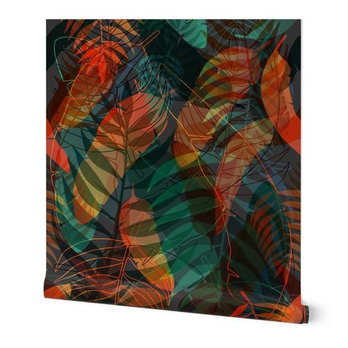 colorful moody tropical flora big scale