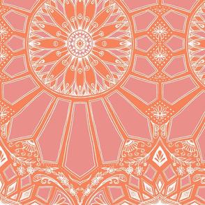 Tangerine and Rose Art Deco Geometric Lace