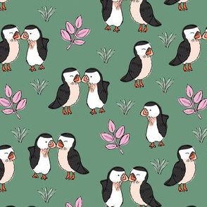 Little love birds puffins and leaves wild birds design for kids olive green pink