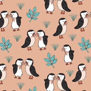 Little love birds puffins and leaves wild birds design for kids blush beige blue