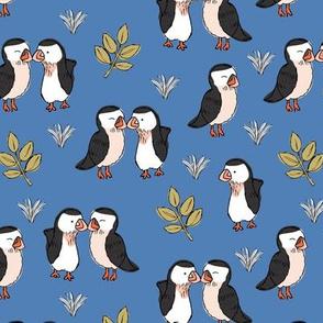Little love birds puffins and leaves wild birds design for kids blue mustard