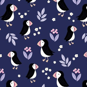 Wild flowers and puffins blossom garden iceland design adorable kids design navy blue purple pink lilac