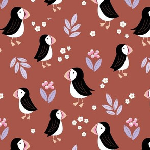 Wild flowers and puffins blossom garden iceland design adorable kids design brick terracotta red lilac pink