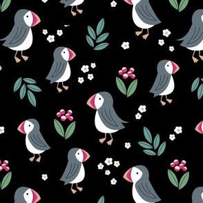Wild flowers and puffins blossom garden iceland design adorable kids design green pink black