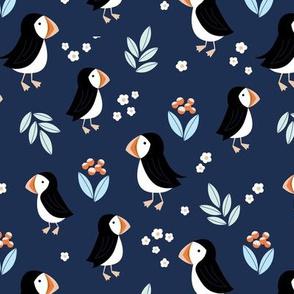 Wild flowers and puffins blossom garden iceland design adorable kids design navy blue orange