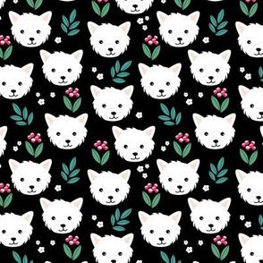 Westie puppies and wild flowers summer white westland highland terrier dogs and blossom garden green pink black