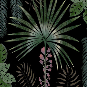 Large Moody Tropical Jungle (Black) by TRForsman