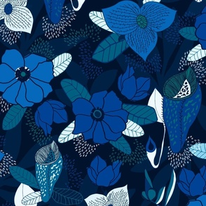 Moody Tropical Jungle Blues Large Scale