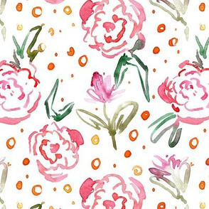 bloom in Mykonos - watercolor dainty florals - painterly flowers for modern home decor_ nursery a271-1