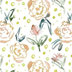 Apricot bloom in Mykonos - watercolor dainty florals - painterly flowers for modern home decor_ nursery a271-2