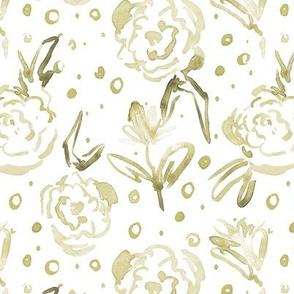 Khaki bloom in Mykonos - watercolor dainty florals - painterly flowers for modern home decor_ nursery a271-12