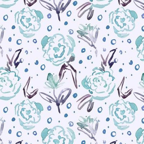 bloom in Mykonos - watercolor dainty florals - painterly flowers for modern home decor_ nursery a271-16