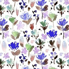 midsummer meadow - blue and lilac watercolor painted wildflowers - florals a271-6