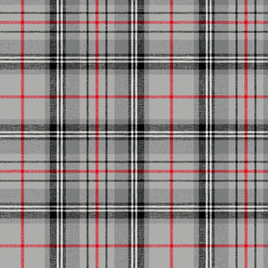 """Glen Moy tartan, double bright red stripe, 10"""" slubbed"""