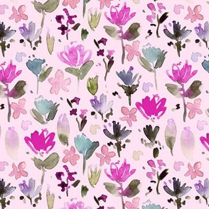 Pink midsummer meadow - watercolor painted wildflowers - florals a271-8