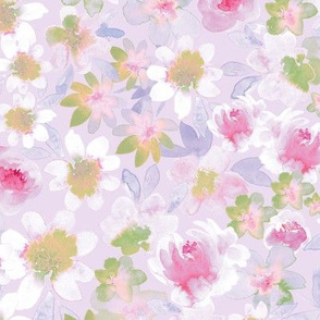 Watercolor Ditsy floral _Soft Lilac