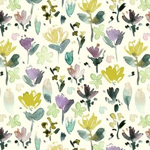 midsummer meadow on cream - watercolor painted wildflowers - florals a271