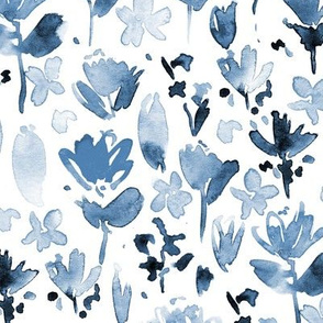 Sapphire midsummer meadow - blue watercolor painted wildflowers - florals a271-10