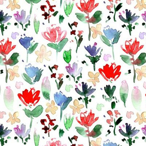 midsummer meadow - vibrant watercolor painted wildflowers - florals a271-1