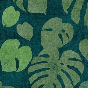 Monstera Leaves in Deep Jungle Green (xl scale)   Block printed jungle leaves, monstera deliciosa, tropical rainforest fabric, South American jungle leaves, dark botanical, large scale leaves.