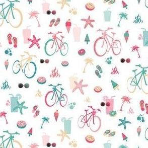 retro beach bikes white and pink tiny