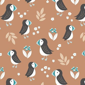 Wild flowers and puffins blossom garden iceland design adorable kids design sand caramel beige blue teal