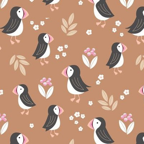 Wild flowers and puffins blossom garden iceland design adorable kids design sand caramel beige pink blush girls