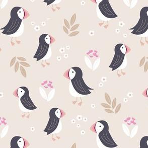 Wild flowers and puffins blossom garden iceland design adorable kids design sand caramel soft sand beige and pink girls