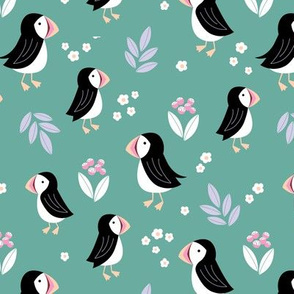 Wild flowers and puffins blossom garden iceland design adorable kids design teal lilac pink girls