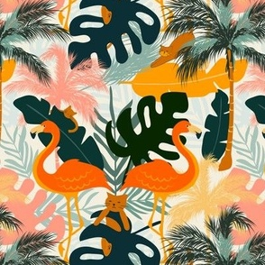 Cats in Colorful Tropical Paradise