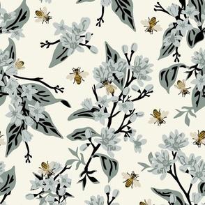 Flowers & Bees - Blue Flowers on Cream