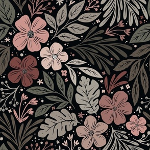 Dark and Moody Floral - blush pink and sage green - medium scale