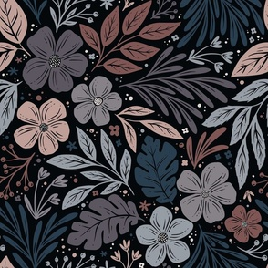 Dark and Moody Floral - blue, purple, pink - medium large scale