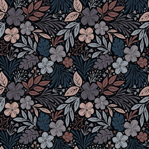 Dark and Moody floral - pink, blue, purple, black - smaller scale