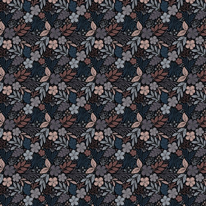 Dark and Moody Floral - blue, purple, pink, black - small micro scale