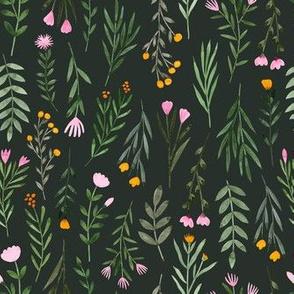Summer Flowers -  Darkest Green
