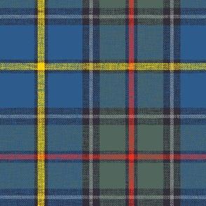 "Green MacLeod tartan, 7"" muted custom, slubbed single grey stripe"