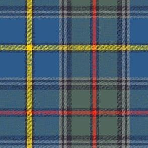 "Green MacLeod tartan, 7"" muted custom, slubbed double grey stripe"