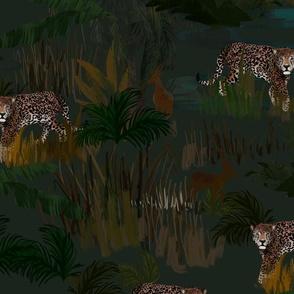 The hunt begins at dusk - jaguar, deer jumbo scale