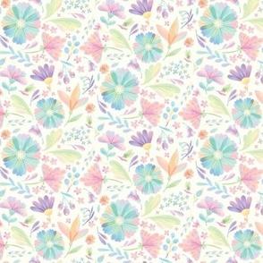 Pastel Rainbow Flowers on Cream