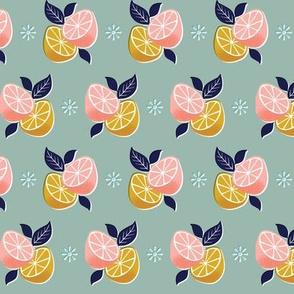 Fantasy Fruit* (Camouflage) || citrus lemon lime orange flowers leaves nature food mustard gold coral