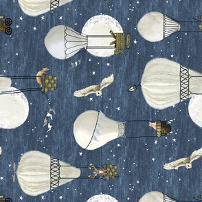 Horizontal White hot air balloons, stars and moon medium scale with woodland animals on blue, forest animals,  hand-drawn, wildlings, owl, deer, fox, nursery, baby boy, home decor