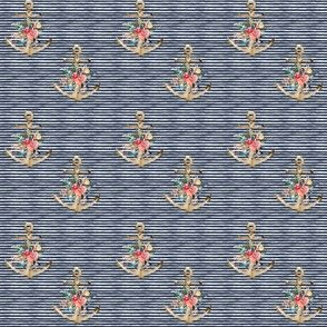 """2"""" Floral Anchor Thick Blue Stripes"""