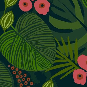 tropical jungle floral pink red large scale